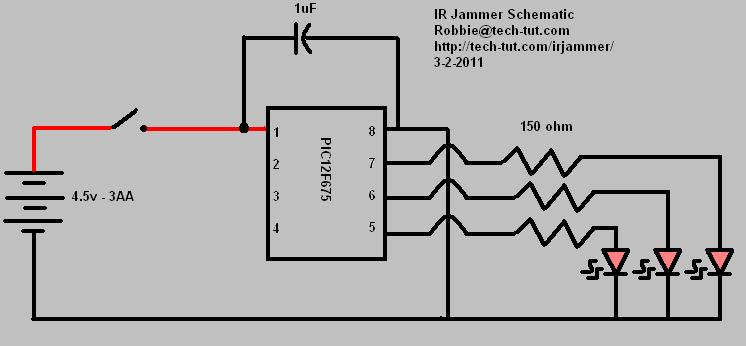 Infrared remote jammer schematic
